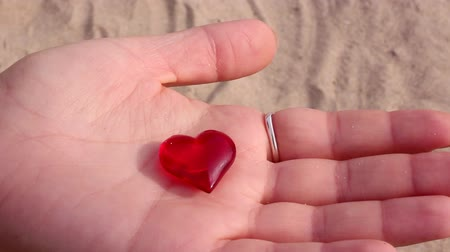 heart shaped : Red crystal heart Stock Footage