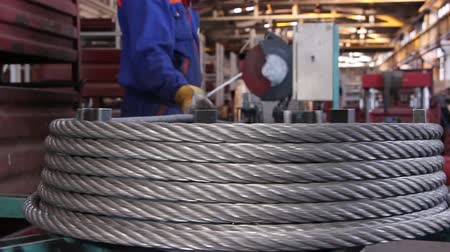 hawser : Heavy industry - steel rope, hawser Stock Footage