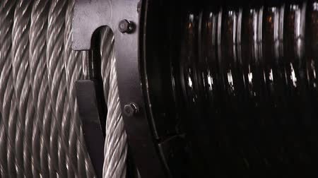 kablo : Heavy industry - steel rope, hawser Stok Video