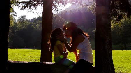 den matek : Mother and daughter hugging and kissing on tree log. Sunset in the background Dostupné videozáznamy
