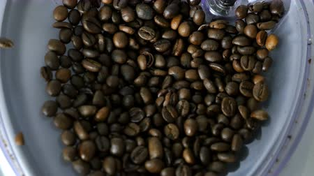 overfill : Process of grinding coffee in a coffee machine Stock Footage