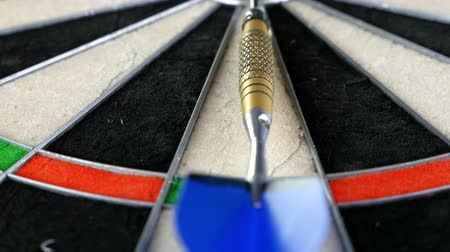 pontão : Close dolly on a dart board, a dart laying and pointing the bulls eye, 4K Stock Footage