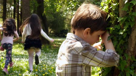 скрывать : A boy and two girls playing hide and seek game. Recreation outdoors for kids