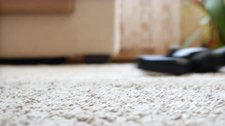 halı : Vacuum cleaner cleaning the carpet Stok Video