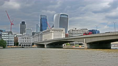 View to river Thames and London business center skyscrapers Stock Footage