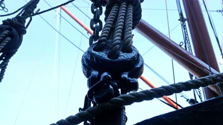 Details of boat ropes, nautical vessel