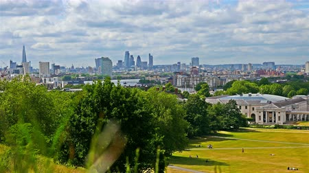 Greenwich park in London, view to River Thames and London business center on background Stock Footage