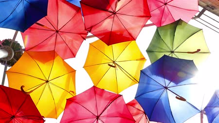zářivé barvy : Colourful umbrellas open in the sky as a decoration in London city