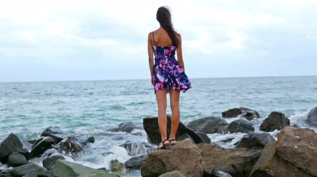 smutek : Young woman standing on the rocky shore by the sea at sunset, her dress fluttering in the wind Wideo