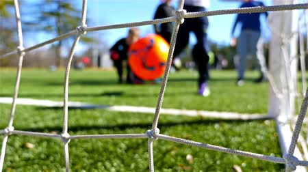 Children playing soccer game, camera behind the goal net