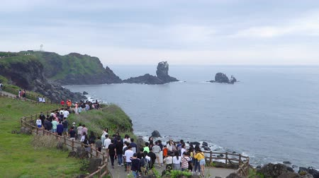 faz tudo : Jeju, Korea - May 23, 2017: Seopjikoji is a cape at the end of the eastern shore of Jeju Island. The place is famous for the filming site of cinemas and dramas, including All In and Ginko bed. Stock Footage