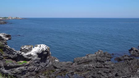 Jeju, Korea - May 22, 2017: Yongduam, dragons head shape rock, located in the coast of Jeju city, Korea. It is famous tourism place for the unique shape and its legend.