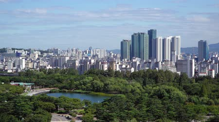 Seoul, Korea - August 26, 2016: Cityscape of Seoul with Pyeonghwa park. Seoul is the capital and largest metropolis of South Korea.