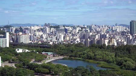Seoul, Korea - August 26, 2016: Cityscape of Seoul with Pyeonghwa park. Seoul is the capital and largest metropolis of South Korea. And The park was built to commemorate the 2002 Stock Footage