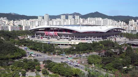 Seoul, Korea - August 26, 2016: Seoul World Cup Stadium, or Sangam Stadium. It is located in Mapo-gu and it is the second largest stadium in South Korea. It was built for 2002 FIFA World cup. Stock Footage