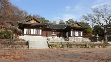 Seoul, Korea - December 4, 2015: Geungnakjeon(the hall of Paradise) in Gilsangsa Temple which was opened by monk Beopjeong in 1997. It belongs to the Jogye Order of Korean Buddhism.