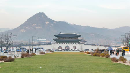 gyeongbok : Seoul, Korea - December 9, 2015: Gwanghwamun Gate. It is the main gate of Gyeongbokgung palace. it is also a landmark and symbol of Seouls long history as the capital of Joseon dynasty.