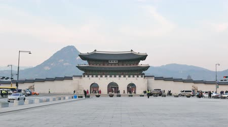 gyeongbokgung : Seoul, Korea - December 9, 2015: Gwanghwamun Gate. It is the main gate of Gyeongbokgung palace. it is also a landmark and symbol of Seouls long history as the capital of Joseon dynasty.