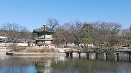 gyeongbokgung : Seoul, Korea - December 28, 2015: Hyangwonjeong pavilion in Gyeongbokgung. Gyeongbokgung palace was the main palace of the Joseon dynasty.