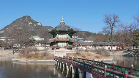 winter palace : Seoul, Korea - December 28, 2015: Hyangwonjeong pavilion in Gyeongbokgung. Gyeongbokgung palace was the main palace of the Joseon dynasty.