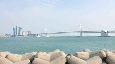 prestigious : Busan, Korea - January 23, 2016: Gwangan Big bridge and Marine City. The suspension bridge is a landmark of Busan.  And Marine city is a luxury and prestigious residential area in Haeundae-gu.