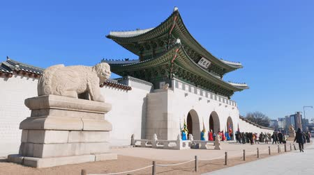 gyeongbok : Seoul, Korea - December 28, 2015: Gwanghwamun Gate. It is the main gate of Gyeongbokgung palace. it is also a landmark and symbol of Seouls long history as the capital of Joseon dynasty.