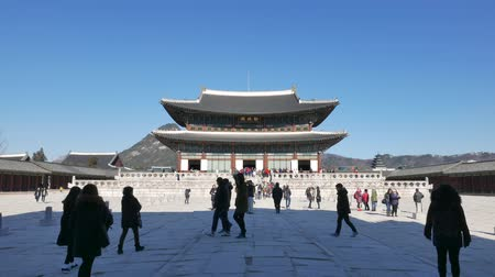 main : Seoul, Korea - December 28, 2015: Geunjeongjeon, the main throne hall of Gyeongbokgung. Gyeongbokgung palace was the main palace of the Joseon dynasty, located in northern Seoul.