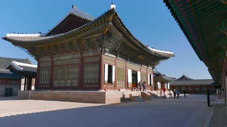 gyeongbokgung : Seoul, Korea - December 28, 2015: Sajeongjeon, the Kings main excutive office in Gyeongbokgung. Gyeongbokgung palace was the main palace of the Joseon dynasty, located in northern Seoul.