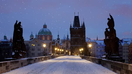 Falling snow in Prague (Charles Bridge)