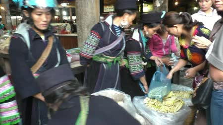 north vietnam : Traditional Black Hmong hill tribe market in Sapa, Vietnam - 09.08.2014
