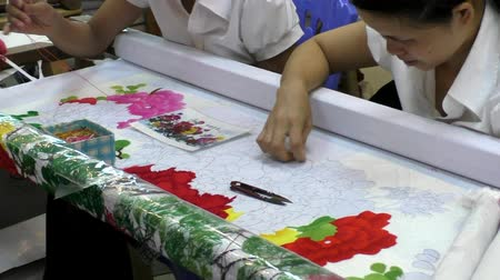 VIETNAM, HA NOI, 14 AUGUST 2014 - Vietnam manufactory with women embroiderers at the art work on the picture Stock Footage