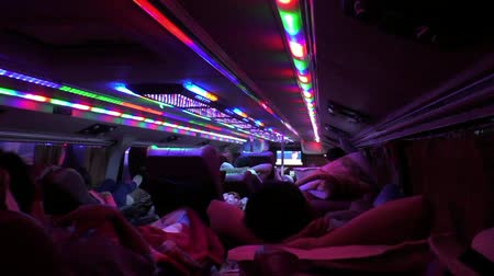 VIETNAM, HA NOI, 14 AUGUST 2014 - Passengers travel in a comfortable sleeping bus, Vietnam Stock Footage
