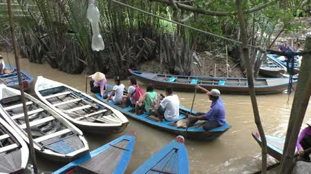 VIETNAM, MEKONG DELTA, 31 JULY 2014 - Tourist boats in the canal of Mekong delta, Vietnam Stock Footage