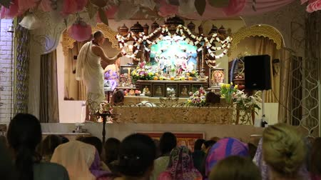 The ceremony in Hare Krishna Temple, Moscow, Russia, 8 May 2017 Stock Footage