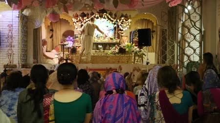 The priest making ceremony in Hare Krishna Temple, Moscow, Russia, 8 May 2017