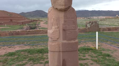 Ancient Stone Statue of a priest - Fraile Monolith in famous Tiwanaku Archaeological site, Kalasasaya temple, Bolivia