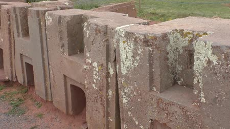 H Blocks at Punku archaeological site, Tiwanaku civilization, Bolivia, Altiplano