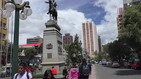 BOLIVIA, LA PAZ, 13 FEBRUARY 2017 - Prado Street boulevard and the monument to Simon Bolivar in La Paz, Bolivia