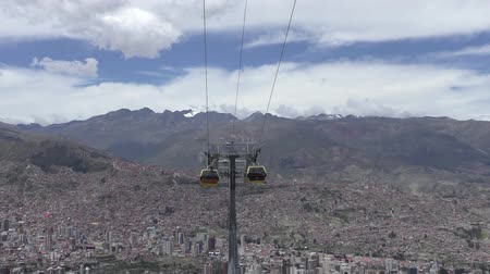 BOLIVIA, LA PAZ, 12 FEBRUARY 2017 - La Paz aerial view with Teleferico Cableway transit system