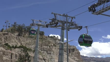 BOLIVIA, LA PAZ, 12 FEBRUARY 2017 - Green line of La Paz aerial Teleferico Cable car system. this is the longest aerial cable car system in the world