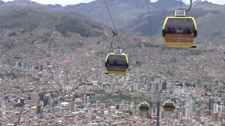 BOLIVIA, LA PAZ, 12 FEBRUARY 2017 - La Paz aerial view with Teleferico Cable car transit system Stock Footage