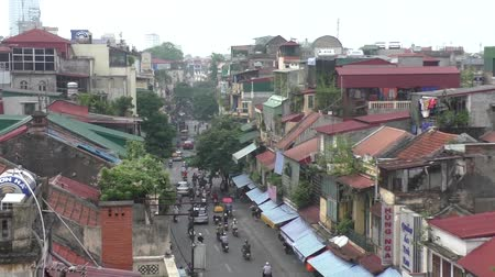 VIETNAM, HANOI, 8 AUGUST 2014 - Aerial view of the street in the old part of Hanoi Stock Footage