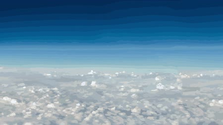 bílé mraky : White cartoon clouds drifting past a deep blue sky