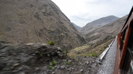 diablo : Train passing through a canyon near Alausi, Ecuador Stock Footage