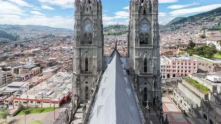 quito : Time lapse video of the Basilica in Quito, Ecuador with the camera panning up Stock Footage
