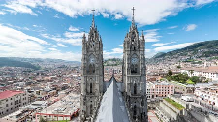 quito : Timelapse of clouds passing over the Basilica in Quito, Ecuador