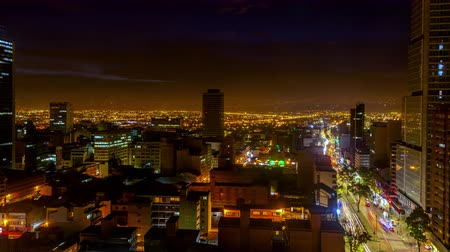 sunset city : Day to night time lapse in Bogota, Colombia with the camera slowly zooming in
