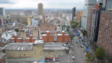 bogota : Tilt shift view of Bogota, Colombia and heavy traffic