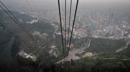 bogota : View of cable car descending from Monserrate Mountain to Bogota, Colombia