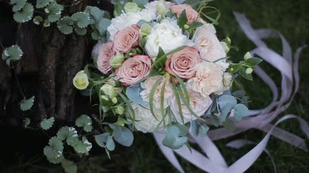 szegfű : Beautiful wedding bouquet of white roses and creme carnations on the grass near an oak tree.